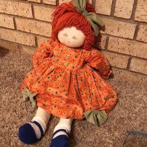 VTG soft body doll with orange yarn hair